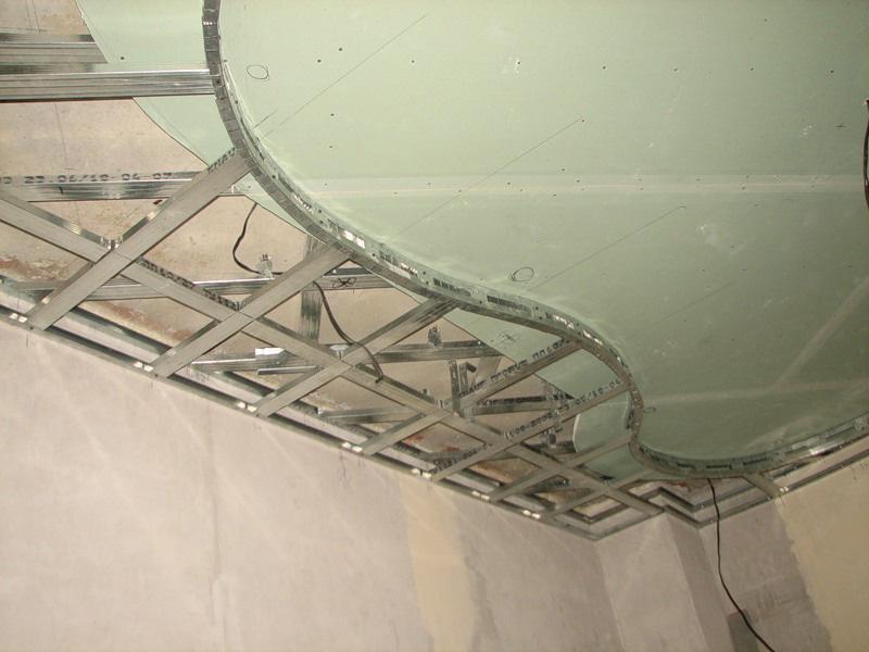 Потолки из гипсокартона представляют